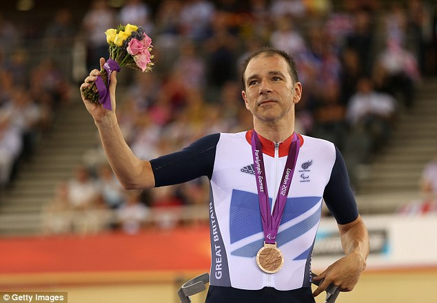 Darren Kenny receiving his silver medal at the 2012 Paralympics