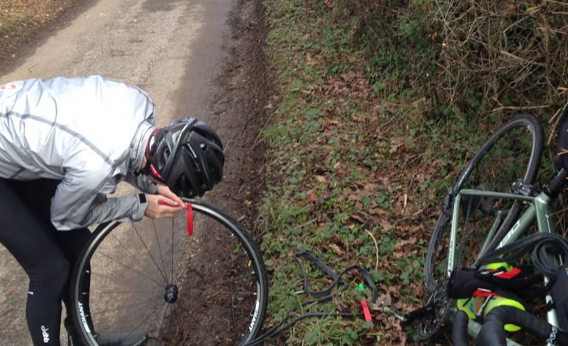 Stuart fixing a puncture at the Evans RideIt! Sportive