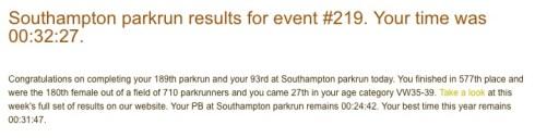 Southampton parkrun 3rd September