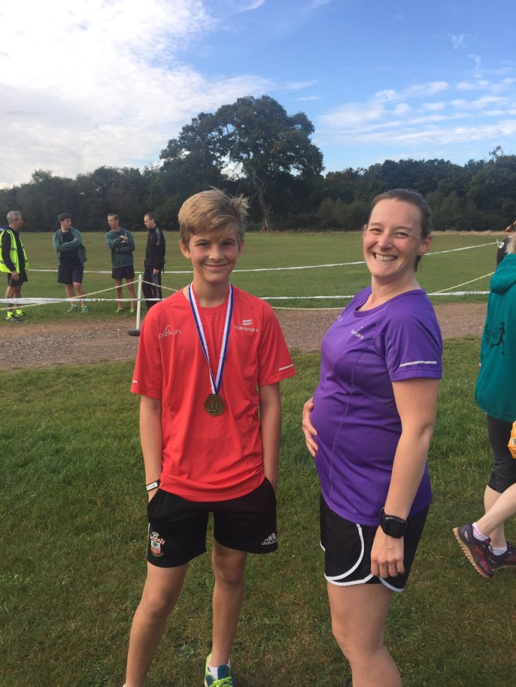 Posing with Toby after my last parkrun before giving birth © Kate Budd