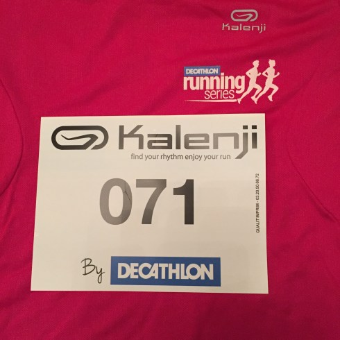 My Decathlon 5k race number