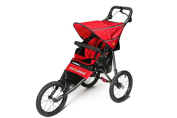 Red 3-wheeled running buggy.