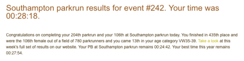 Southampton parkrun 28th January