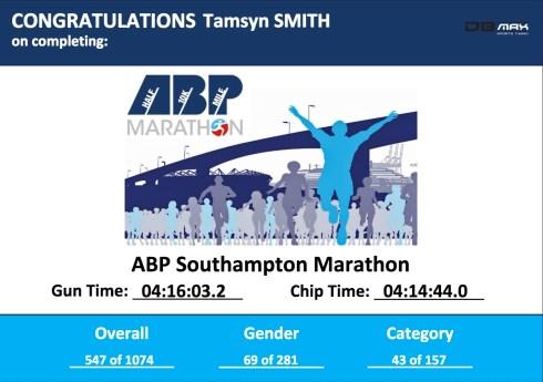 Tamsyn's ABP Marathon certificate.