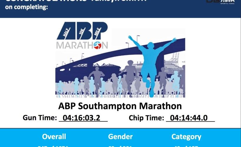 Tamsyn's marathon certificate