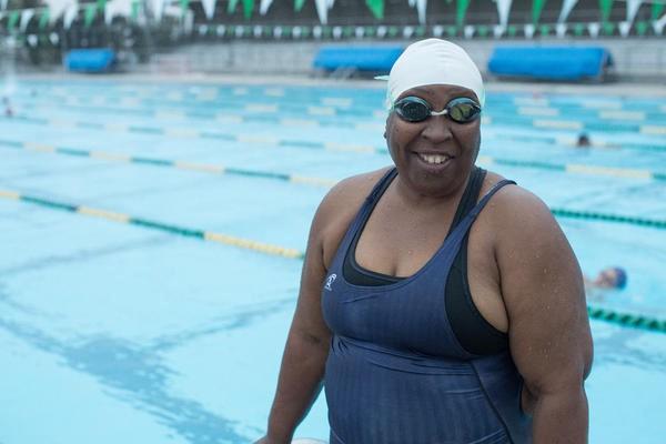 Vivian Stancil at the swimming pool