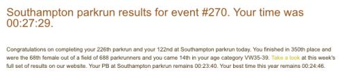 Southampton parkrun 26 August 2017