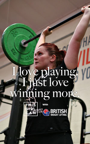 Woman lifting free weights with the slogan 'I love playing, I just love winning more'
