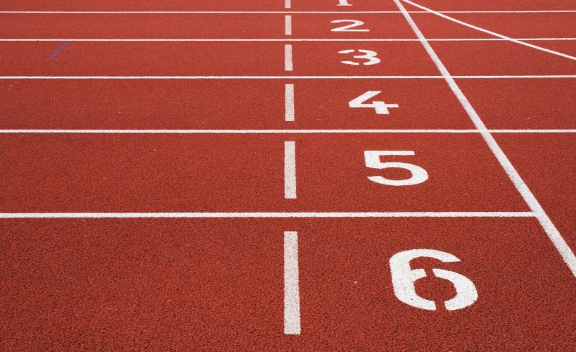 Close up of the numbers on a running track