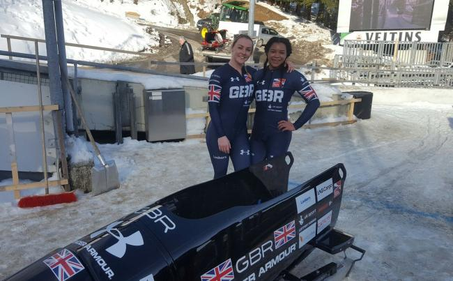 Mica McNeill and Mica Moore with their bobsleigh