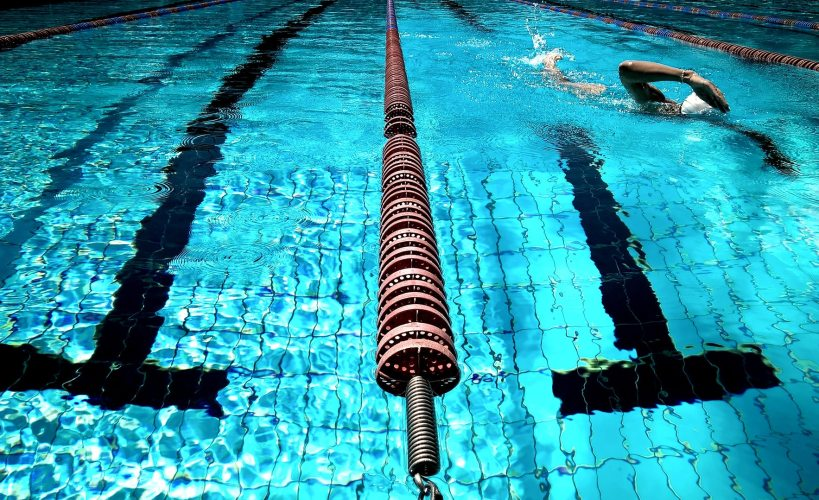 Lane ropes in swimming pool