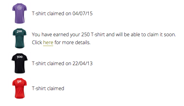 Screenshot of information about when Tamsyn claimed her parkrun club t-shirts
