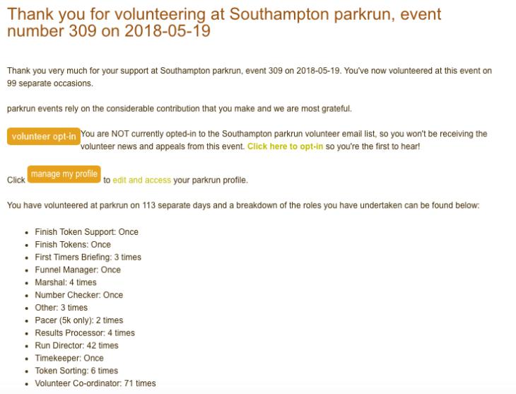 parkrun volunteering 19th May #309