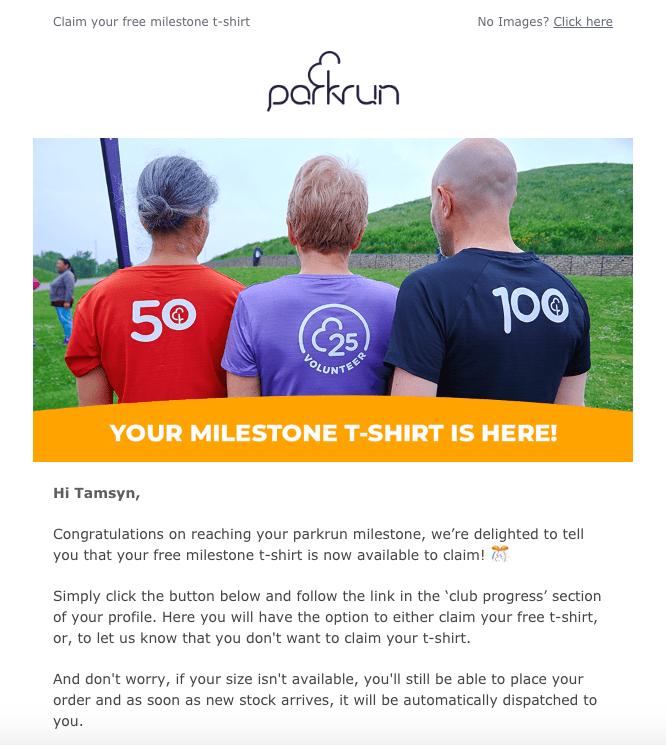 Claim parkrun 250 t-shirt