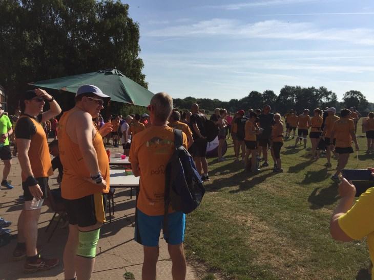 Plenty of apricot t-shirts at Leamington parkrun