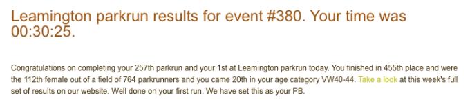 Leamington parkrun 07 July 18 result