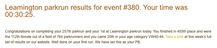 Leamington parkrun 07 July 18 result