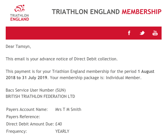 Triathlon England membership