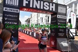 Tamsyn finishing Long Course Weekend run