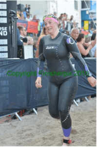Tamsyn finishing the Long Course Weekend Swim 2018