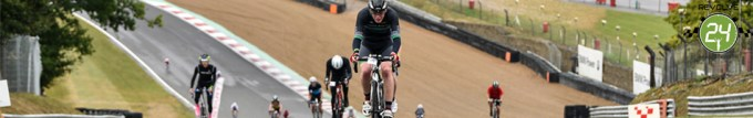 Cyclists on the track at Brands Hatch