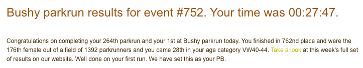 Tamsyn's result from Bushy parkrun