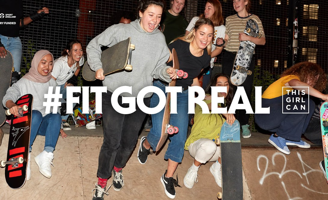 Fit Got Real Advert showing women with skateboards.