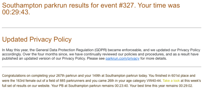 Tamsyn's result from Southampton parkrun on 06 Oct 18. This was the second of her two parkruns at Southampton.