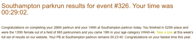 Tamsyn's result at Southampton parkrun on 30 Sept 18. Her first run of two parkruns in a row at Southampton.