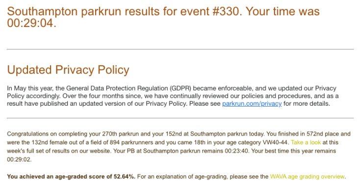 Tamsyn's result from Southampton parkrun #330 on 27th October 2018.
