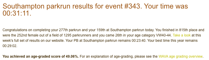 Tamsyn's result from Southampton parkrun on 12/01/19: 31:11.