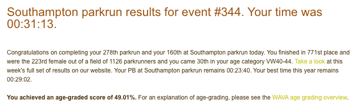 Tamsyn's parkrun result from event #344 on 19th January 2019: 31:13.