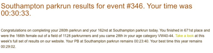 Tamsyn's parkrun result from February 9th 2019 (30:33)