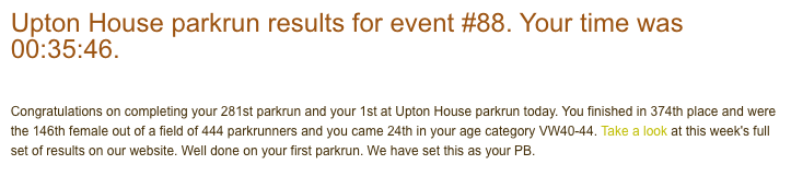 Tamsyn's result from Upton House parkrun: 35:46