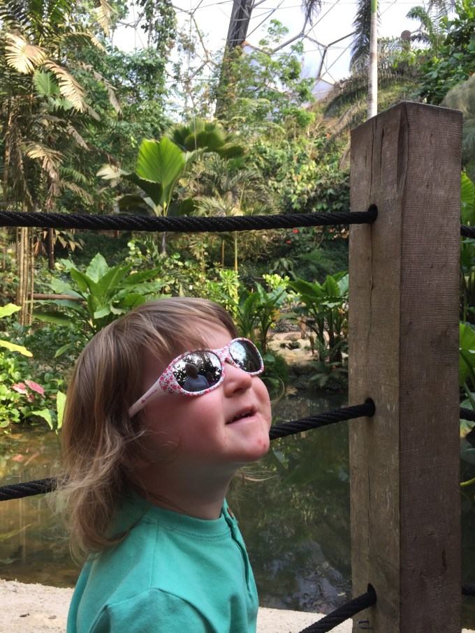 M enjoying herself in the tropical biome at the Eden Project.