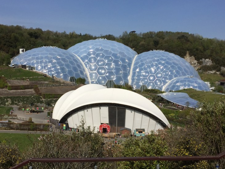The Eden Project biomes with the stage in front.