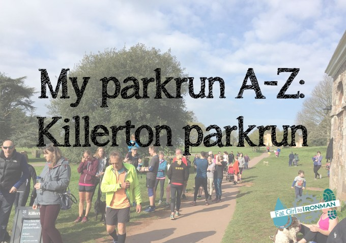 People milling around after Killerton parkrun with a superimposed heading: My parkrun A-Z: Killerton parkrun