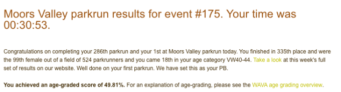 Tamsyn Smith's result from Moors valley parkrun event #175: 30:53.