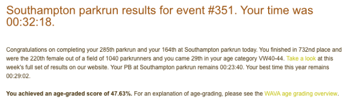 Tamsyn's results from parkrun.