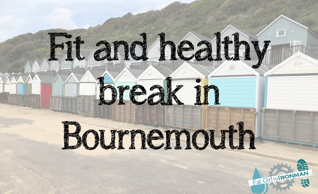 """Beach huts with """"Fit and healthy break in Bournemouth"""" superimposed."""