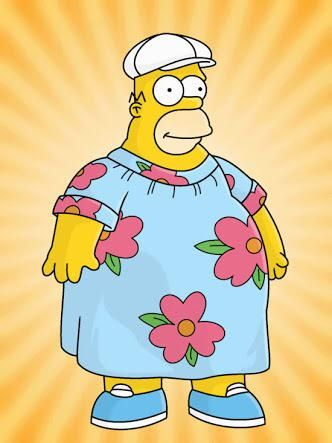 Homer Simpson wearing a garish blue muumuu with bright pink flowers on it.
