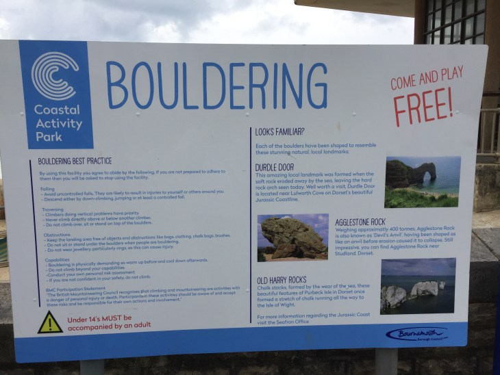 Bouldering information sign at Boscombe Beach.