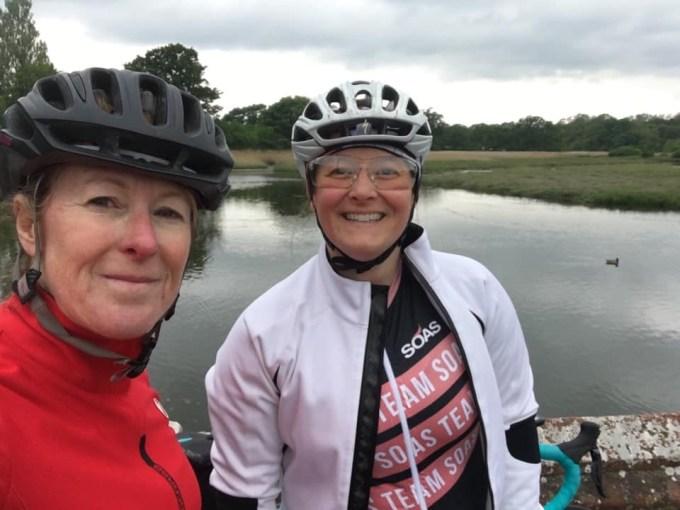 Selfie of Tamsyn and Teri on their bikes.