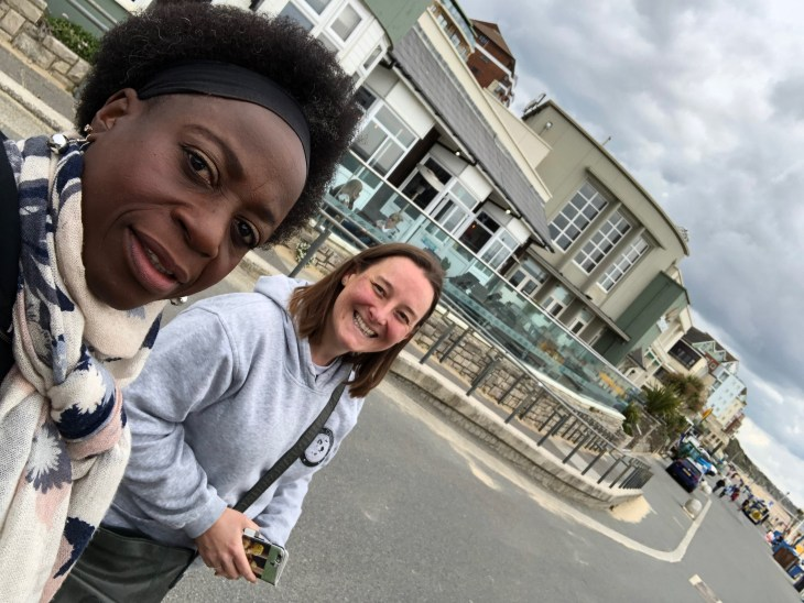 Selfie of Inez and Tamsyn on the promenade at Boscombe.
