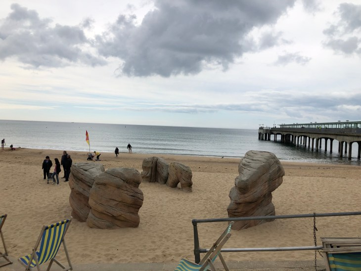 Bouldering area (three large boulders) on the beach next to the pier at Boscombe.