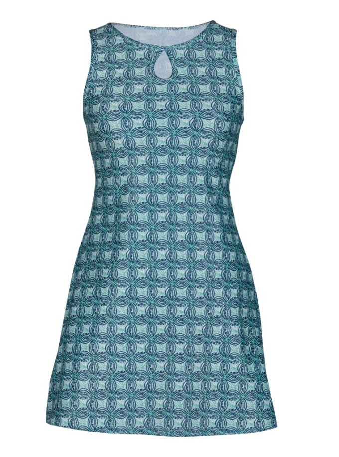 A green and blue patterned nuumuu.