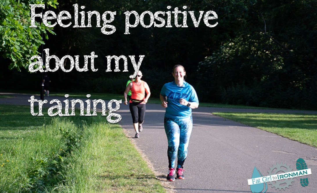 Image of Tamsyn running with text saying 'Feeling positive about my training' superimposed on it.