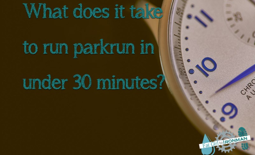 Stopwatch with text saying 'what does it take to run parkrun in under 30 minutes?'