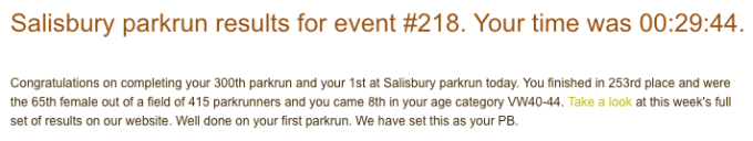 Tamsyn's result email from Salisbury parkrun.