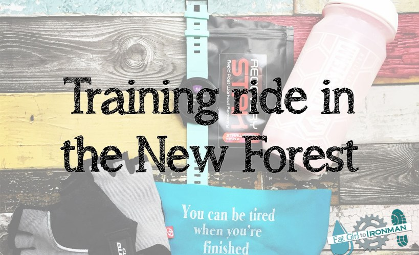 Flat lay of cycling kit with the text 'Training ride in the New Forest'
